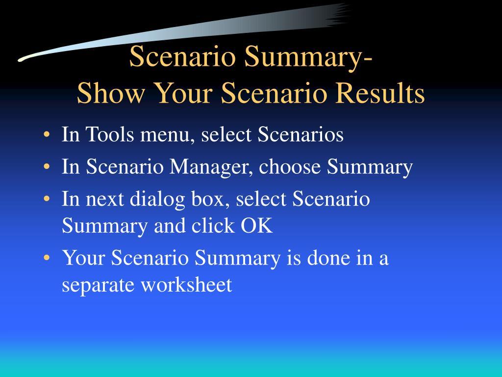 Scenario Summary-