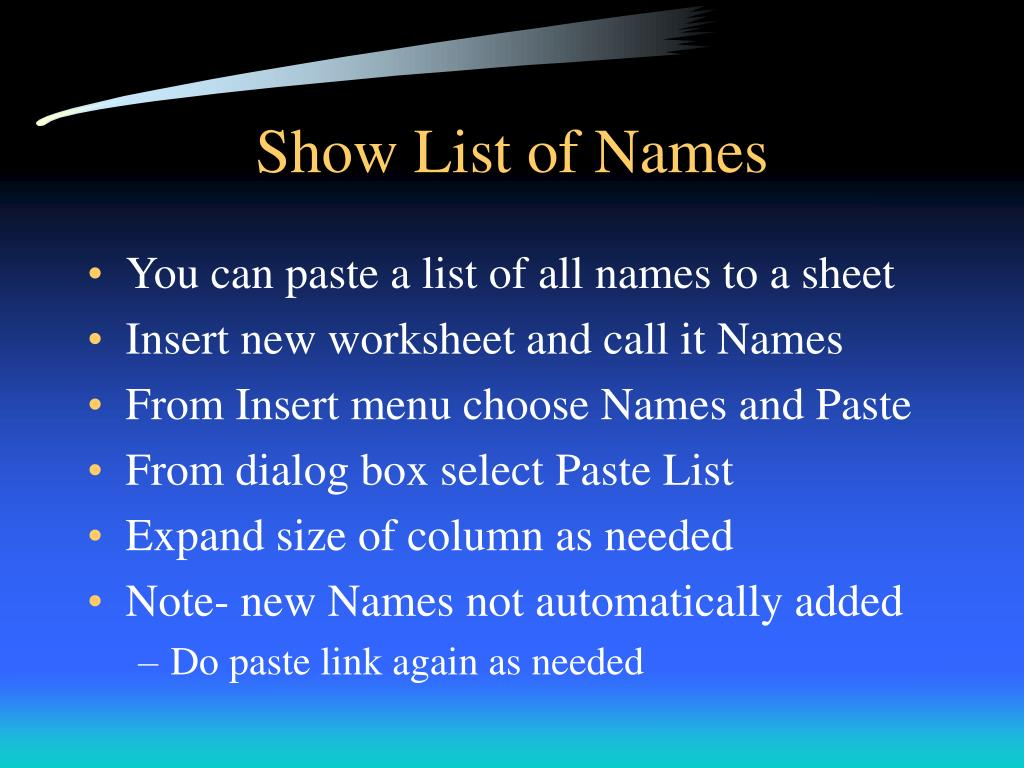 Show List of Names