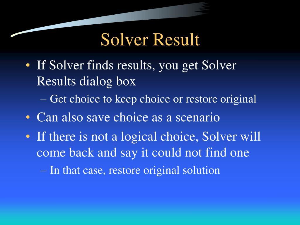 Solver Result