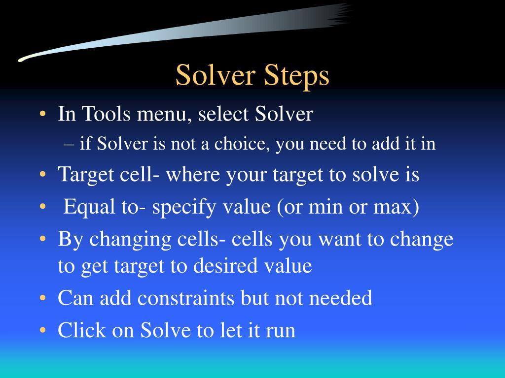 Solver Steps