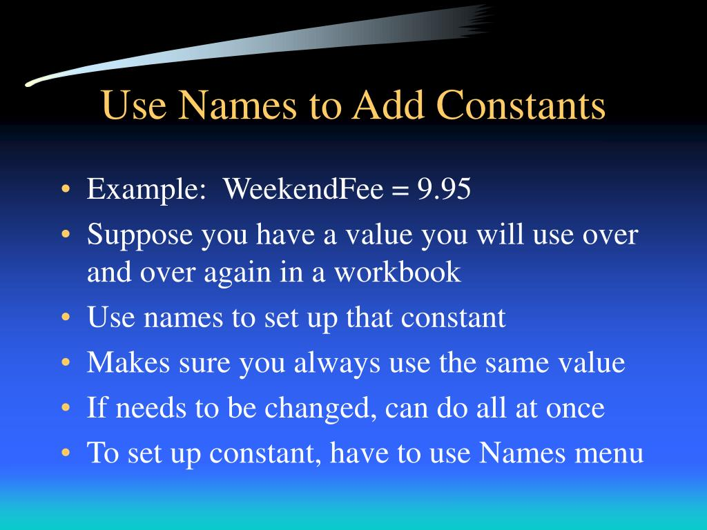 Use Names to Add Constants