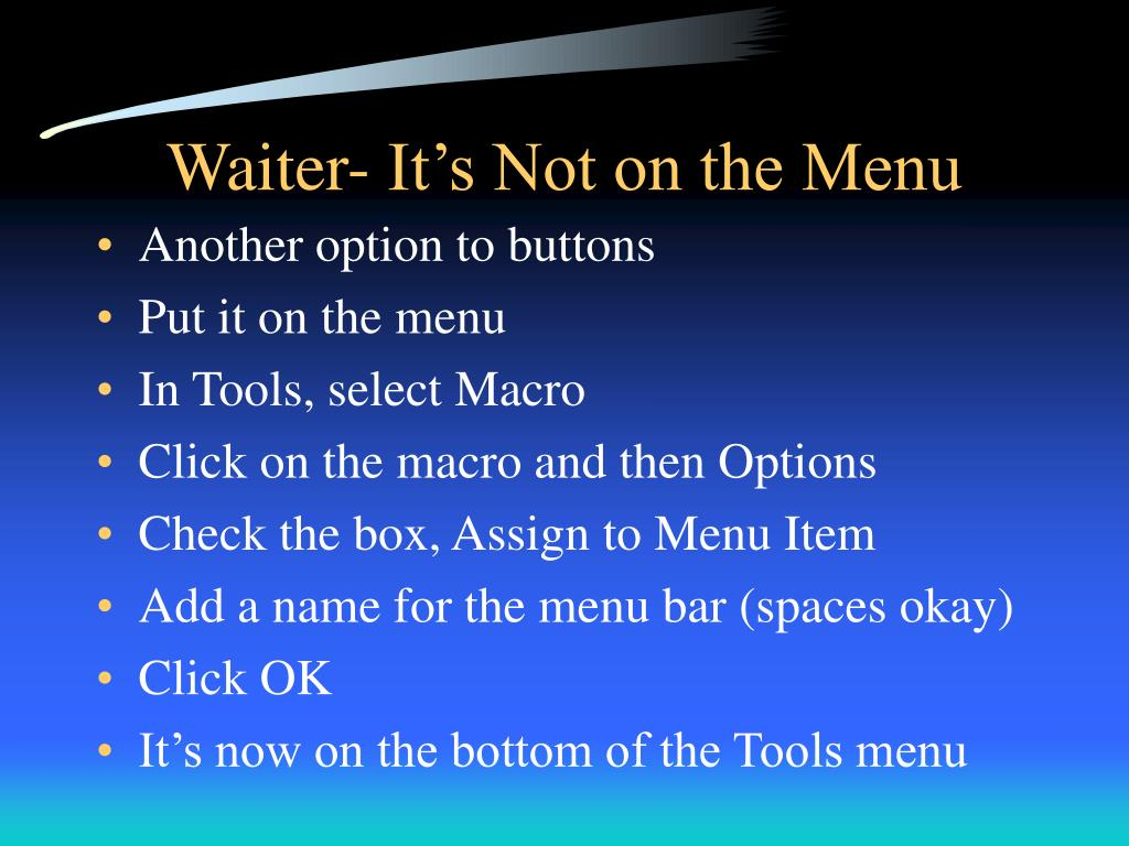 Waiter- It's Not on the Menu