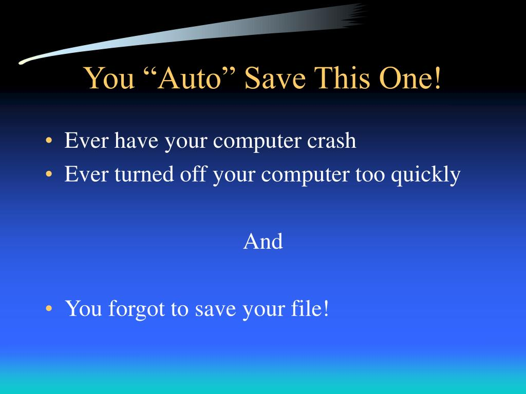 "You ""Auto"" Save This One!"