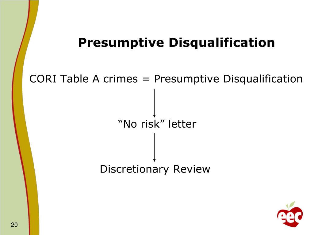 Presumptive Disqualification