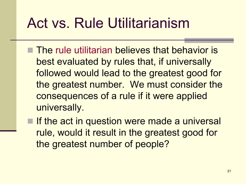 Act vs. Rule Utilitarianism