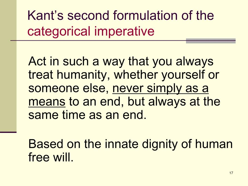 Kant's second formulation of the