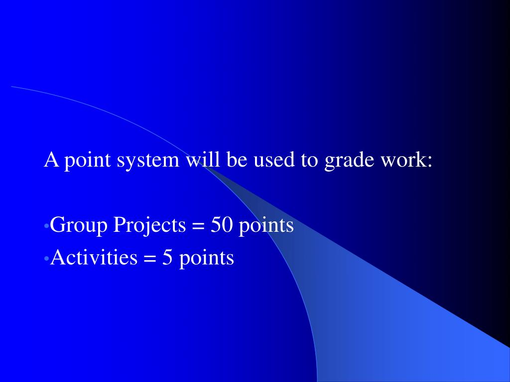 A point system will be used to grade work: