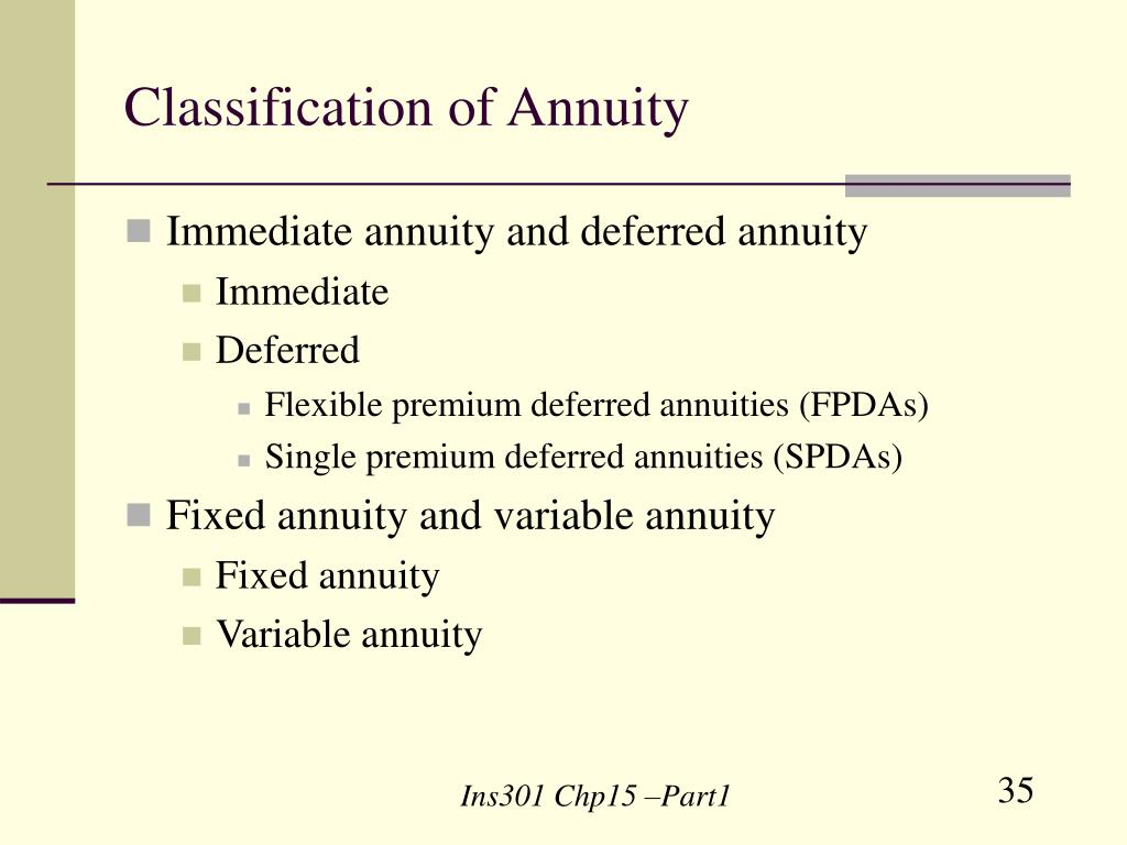 Classification of Annuity