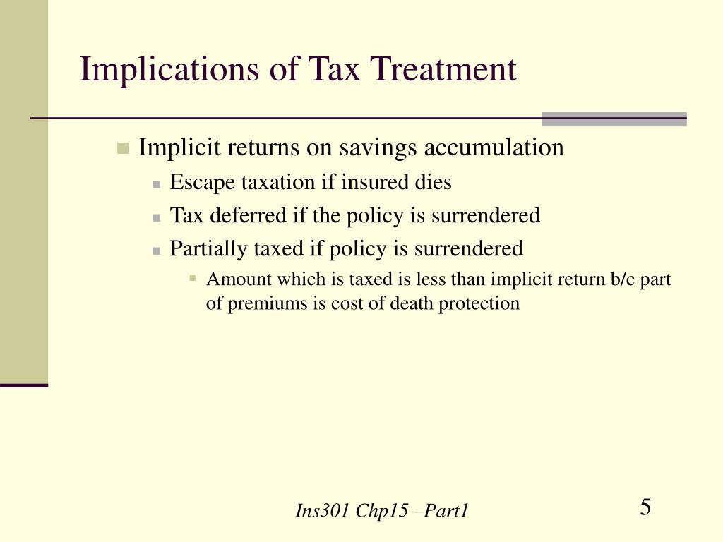 Implications of Tax Treatment
