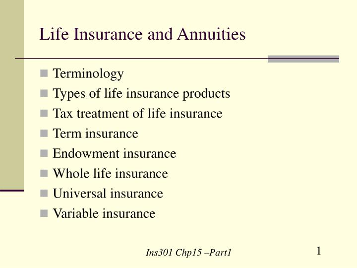 Life insurance and annuities l.jpg