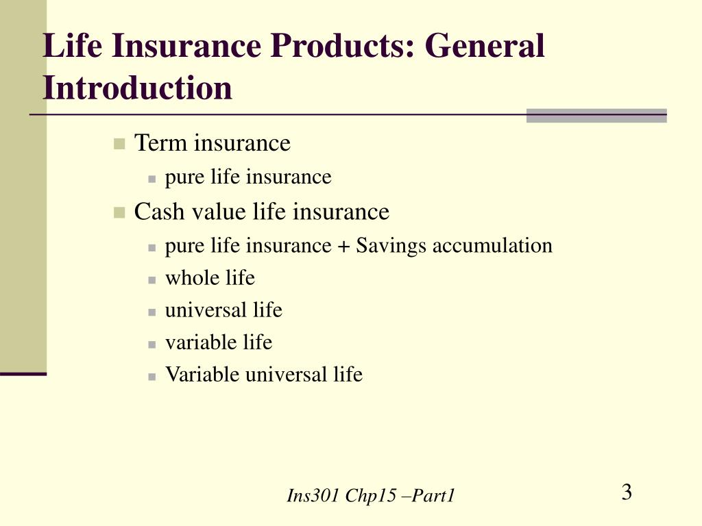 Life Insurance Products: General Introduction