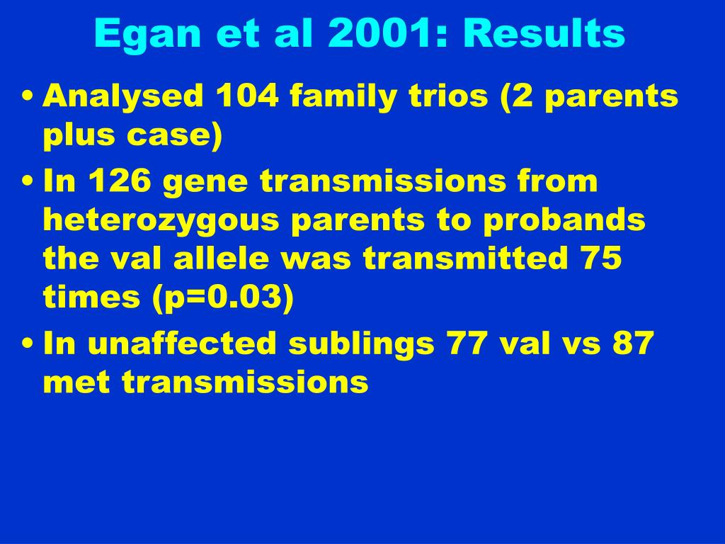 Egan et al 2001: Results