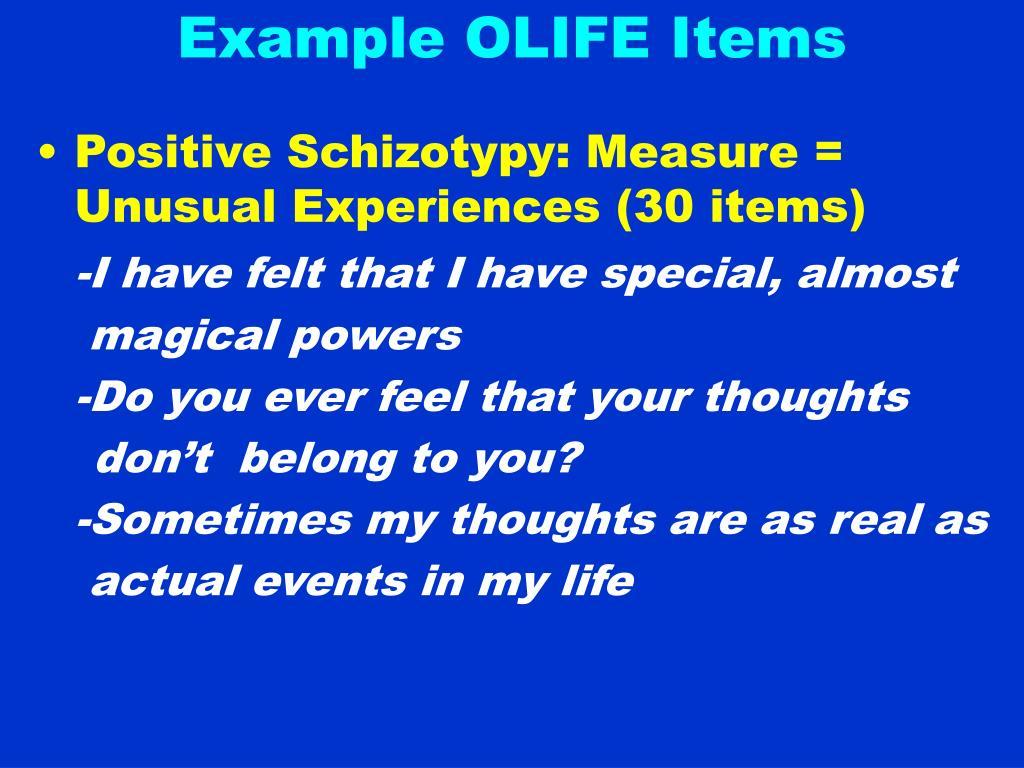 Example OLIFE Items