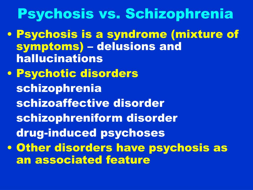 Psychosis vs. Schizophrenia