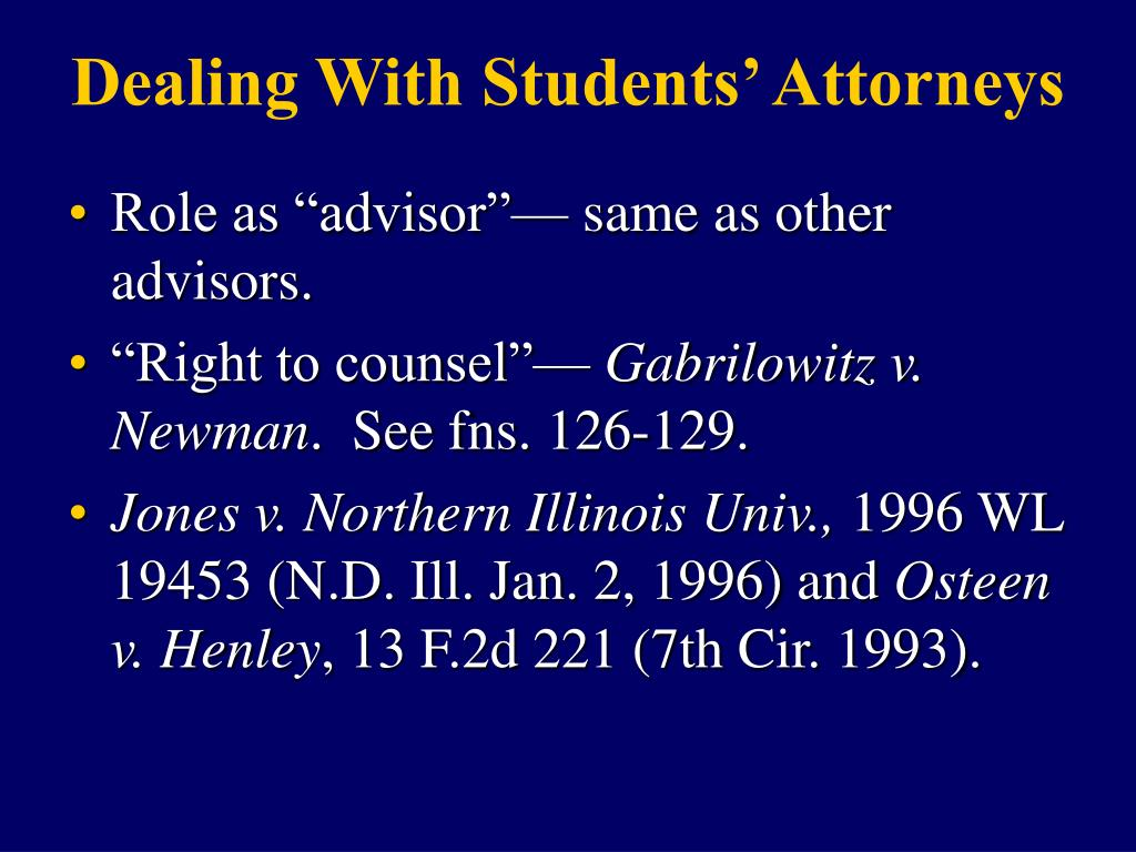 Dealing With Students' Attorneys