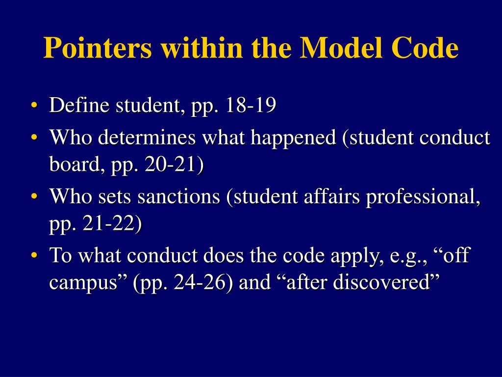 Pointers within the Model Code
