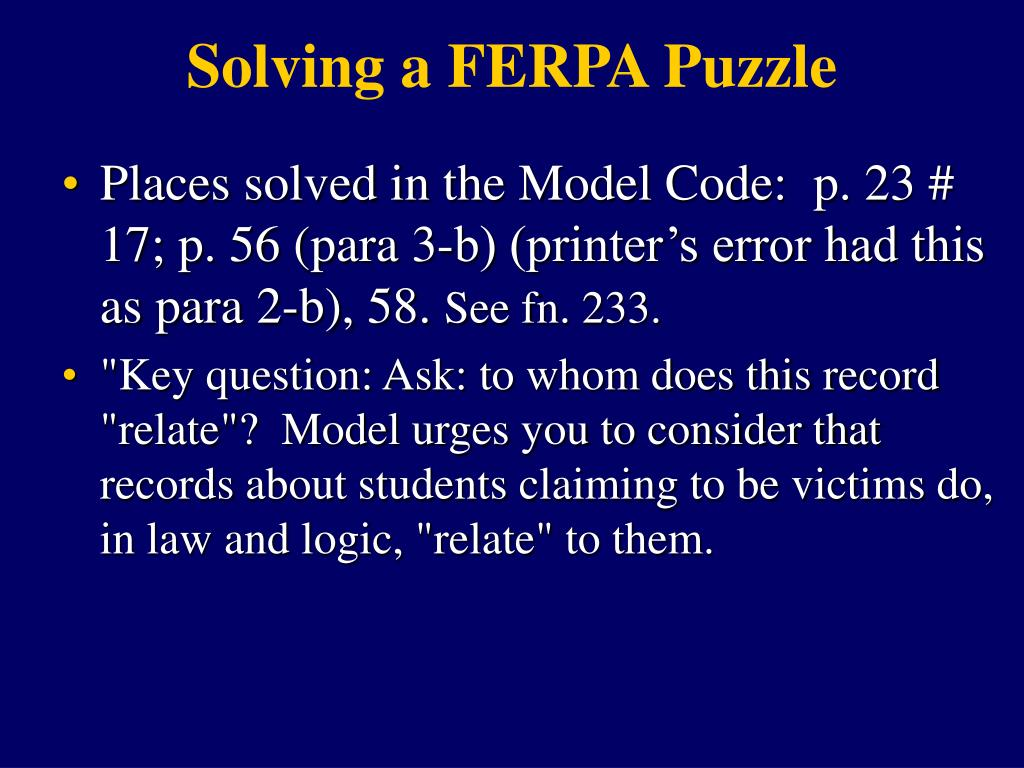 Solving a FERPA Puzzle