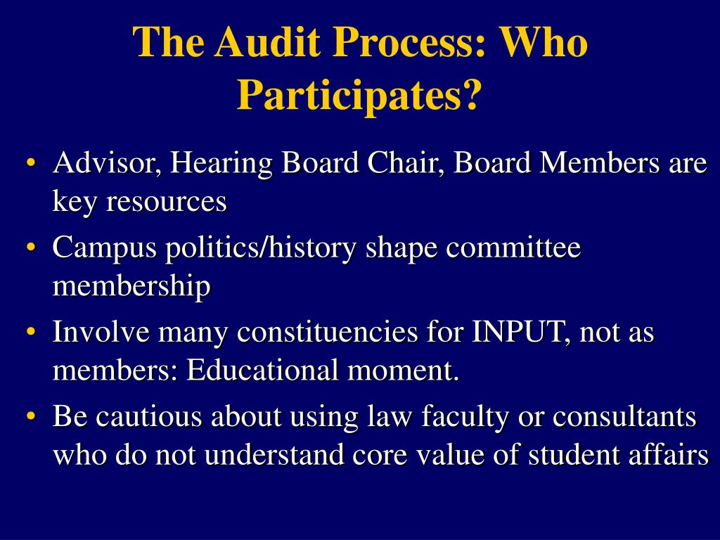 The Audit Process: Who Participates?
