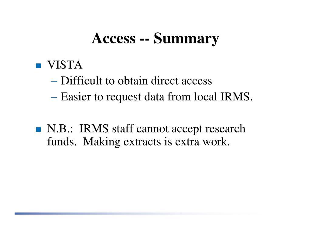 Access -- Summary