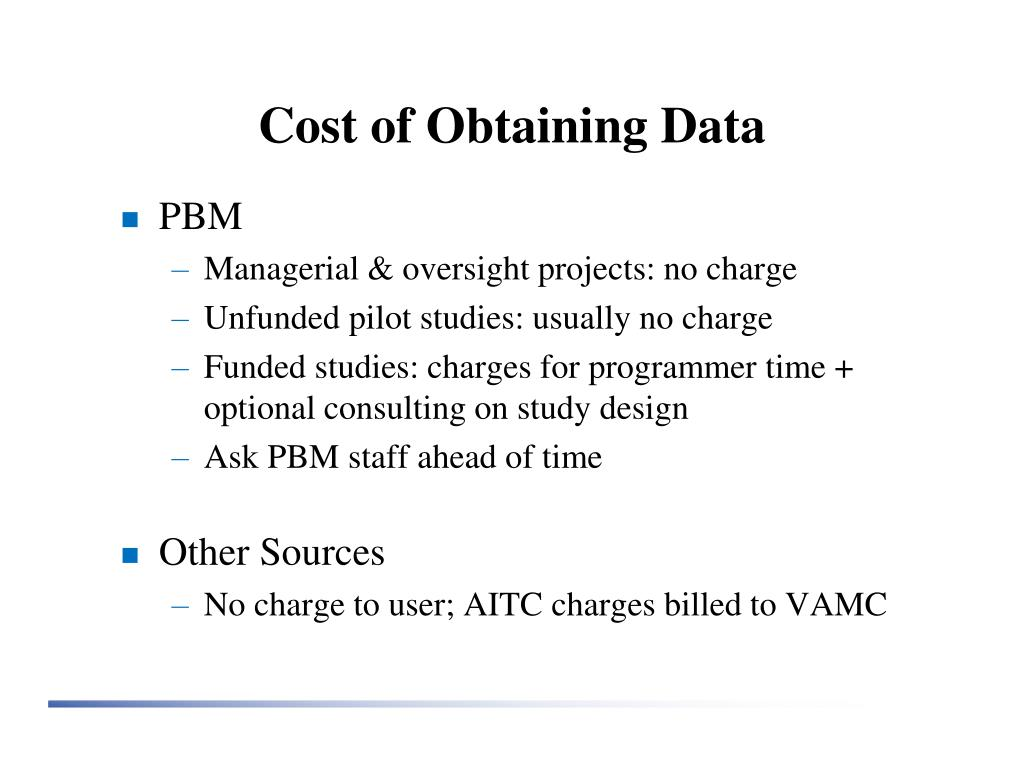 Cost of Obtaining Data