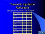 traumatic injuries in agriculture36