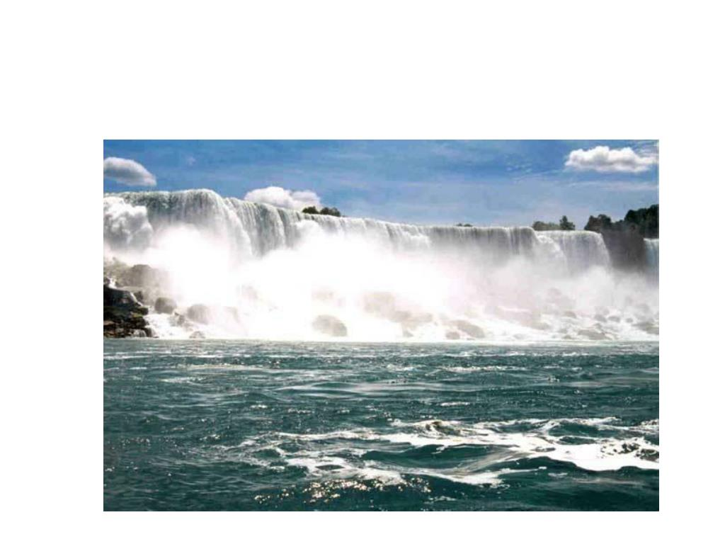 The falls erode back at a rate of 1.5 meters a year