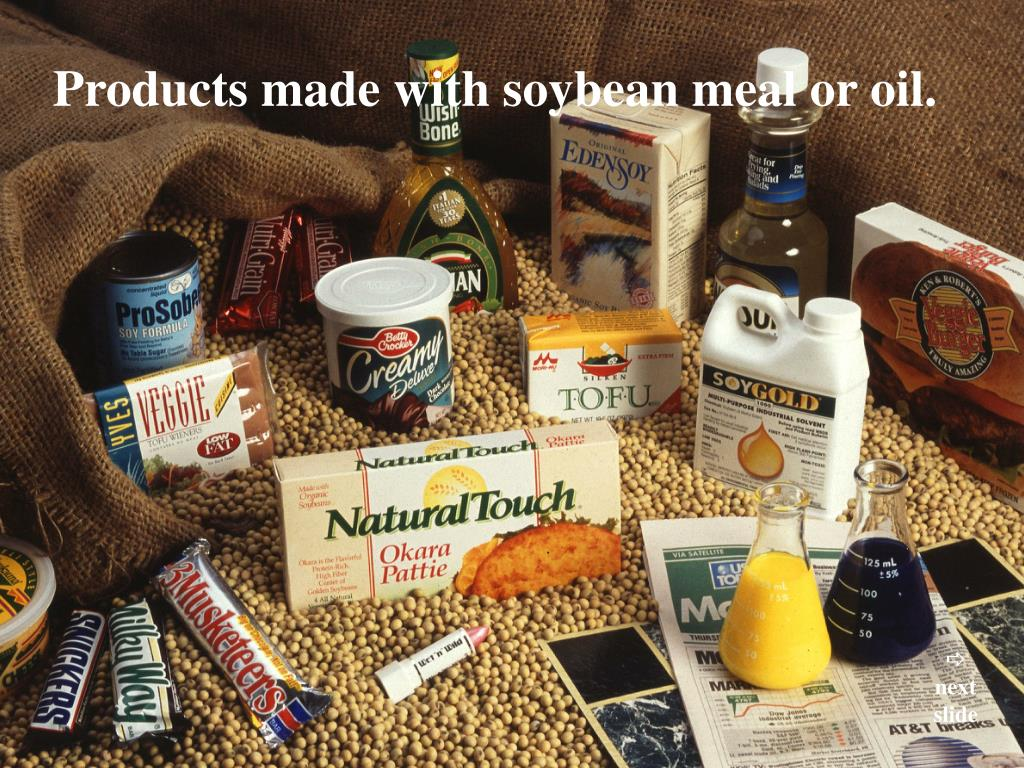 Products made with soybean meal or oil.