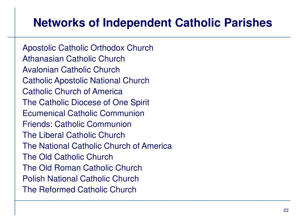 Networks of Independent Catholic Parishes