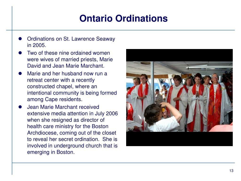 Ontario Ordinations