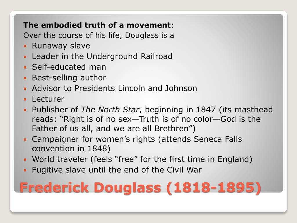 the comparison of emersons idea of self reliance to the life of fredrick douglass An american slave the narrative of the life of fredrick douglass is an autobiography in which the author has shared his life experiences life of frederick douglass: life in the woods, self-reliance.