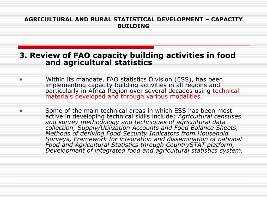AGRICULTURAL AND RURAL STATISTICAL DEVELOPMENT – CAPACITY BUILDING
