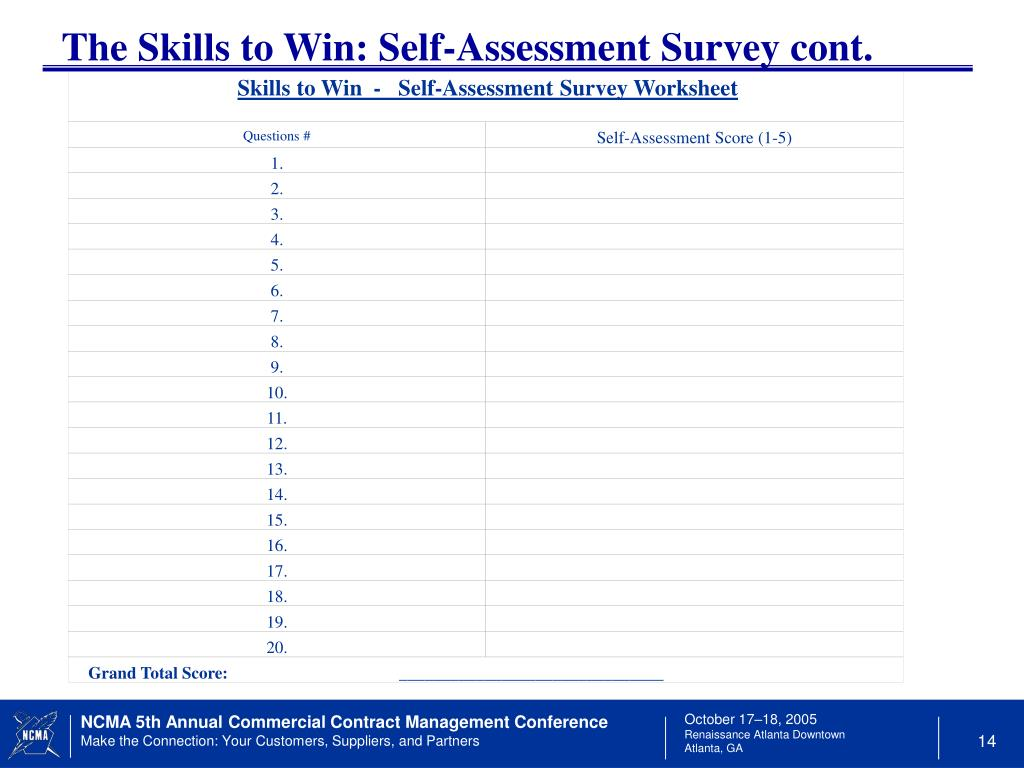 Skills to Win  -   Self-Assessment Survey Worksheet