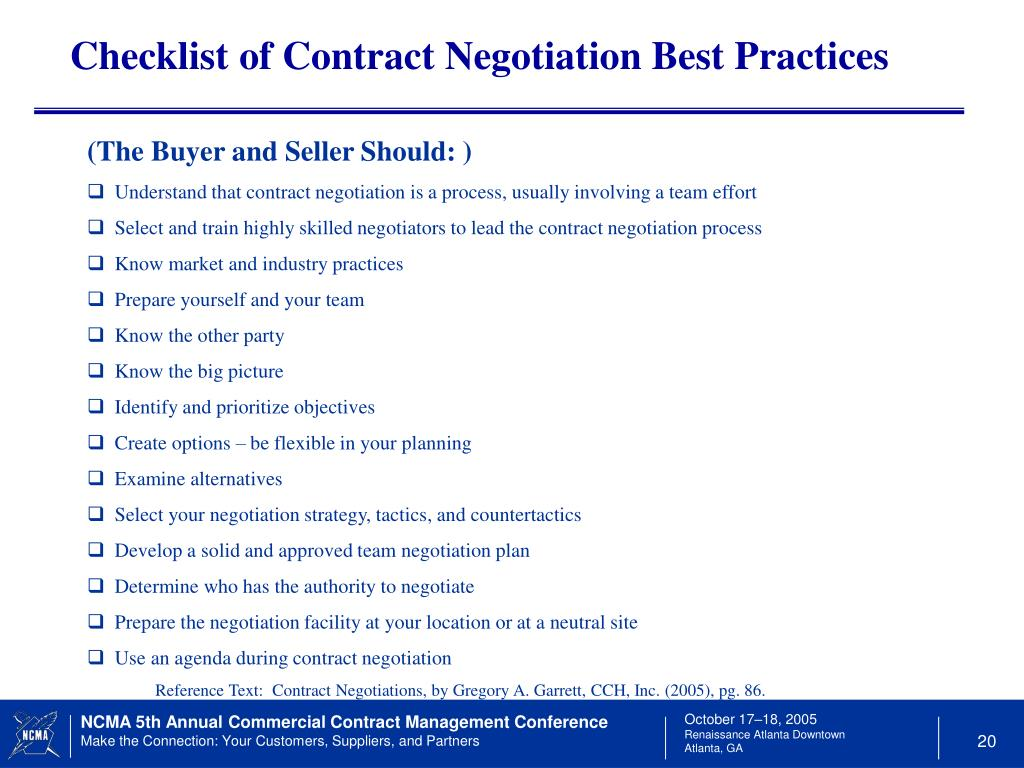 Checklist of Contract Negotiation Best Practices