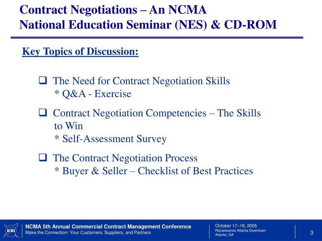 Contract Negotiations – An NCMA           National Education Seminar (NES) & CD-ROM