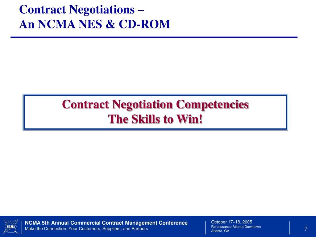 Contract Negotiations –                                        An NCMA NES & CD-ROM