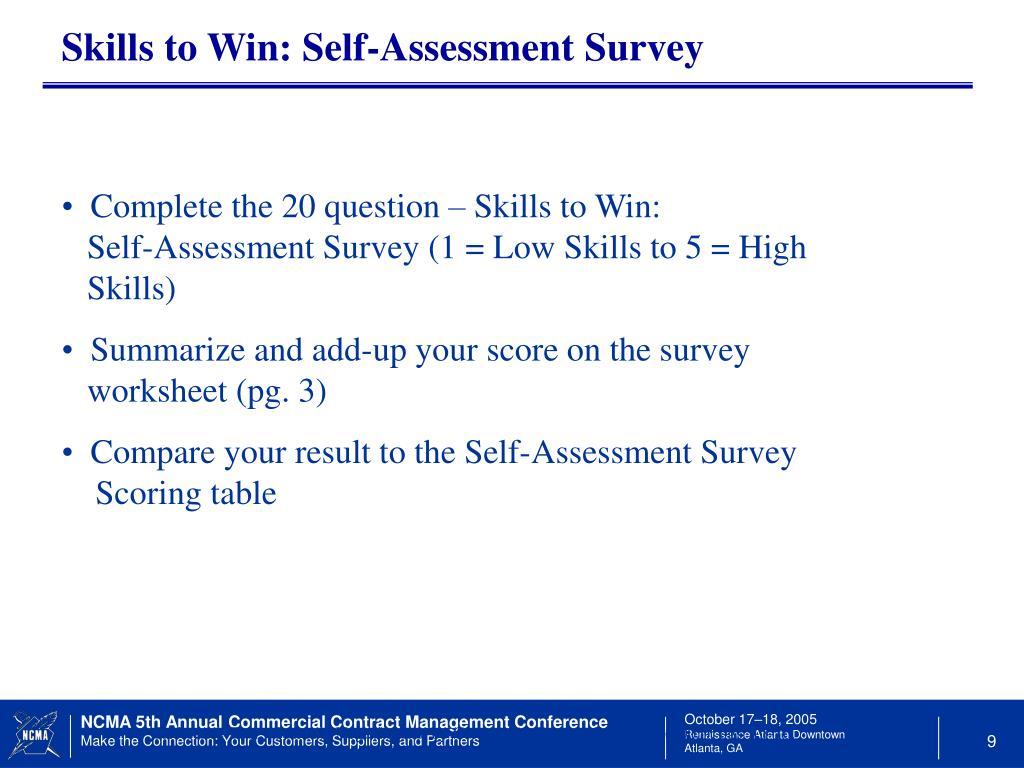 Skills to Win: Self-Assessment Survey