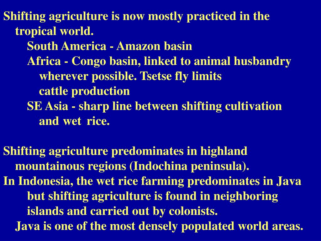 Shifting agriculture is now mostly practiced in the 	tropical world.