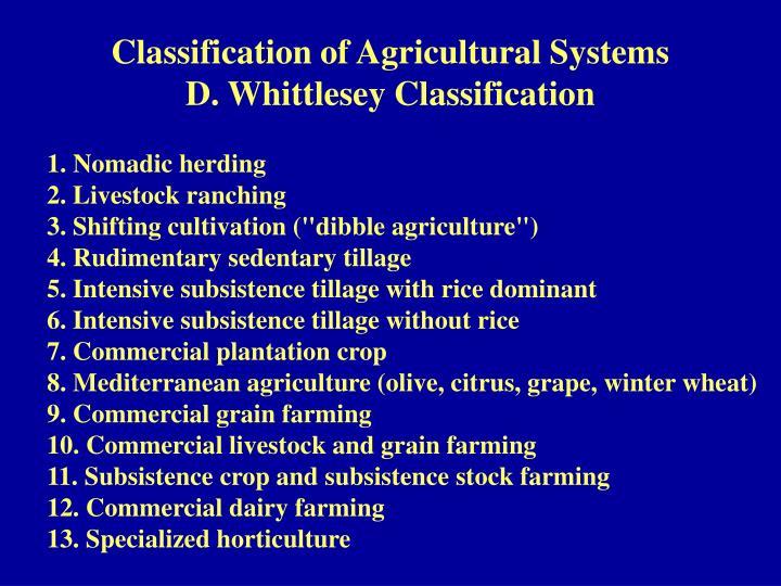 Classification of Agricultural Systems