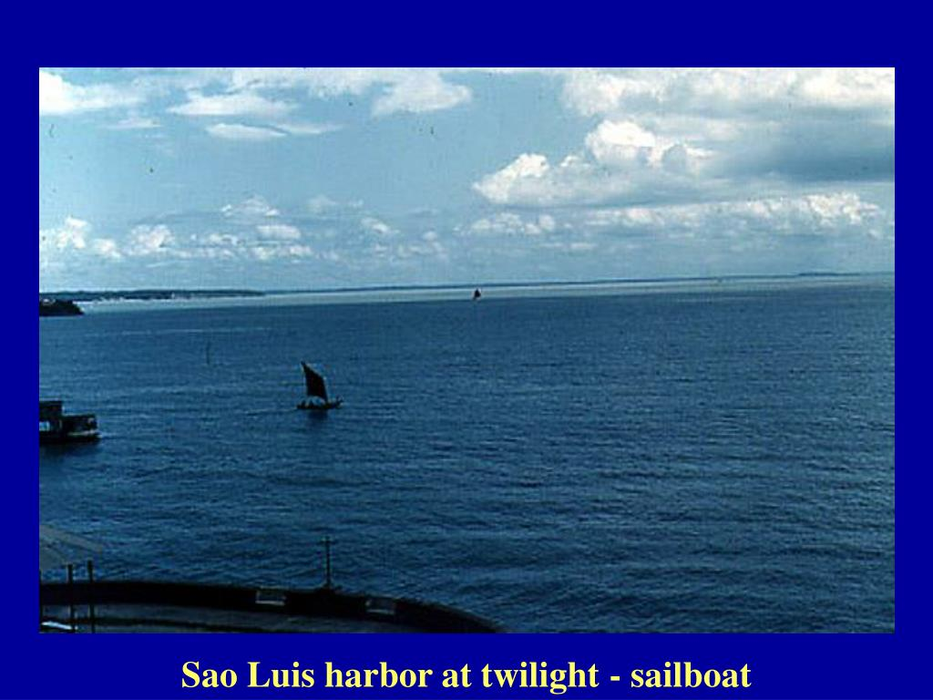 Sao Luis harbor at twilight - sailboat