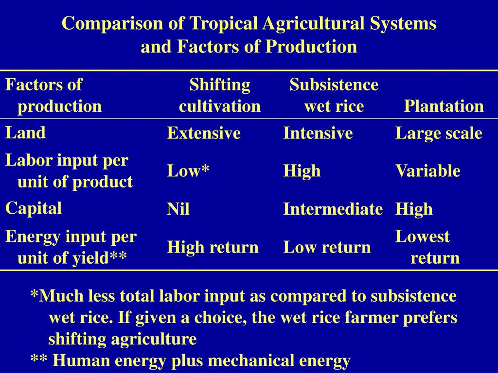 Comparison of Tropical Agricultural Systems