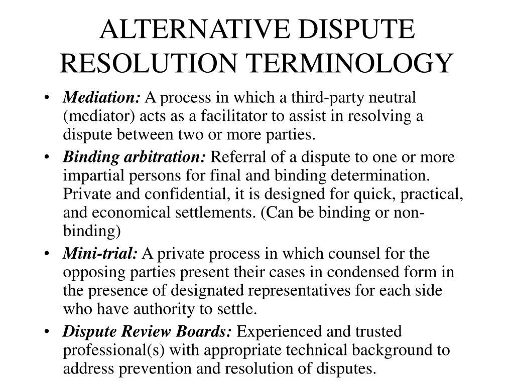 ALTERNATIVE DISPUTE RESOLUTION TERMINOLOGY