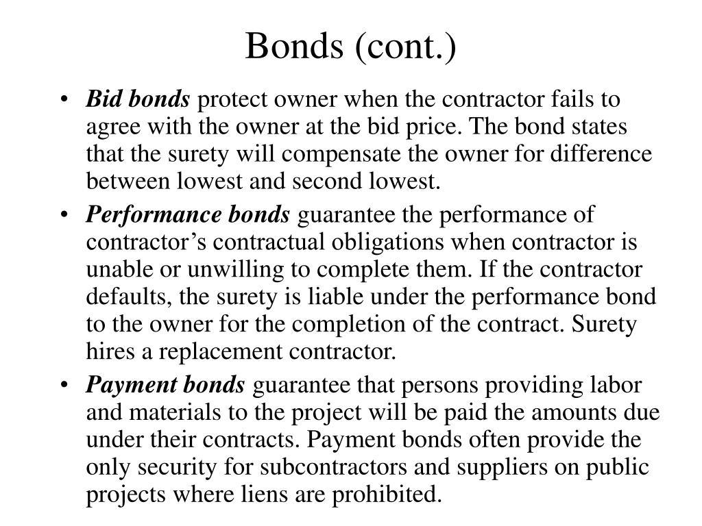 Bonds (cont.)