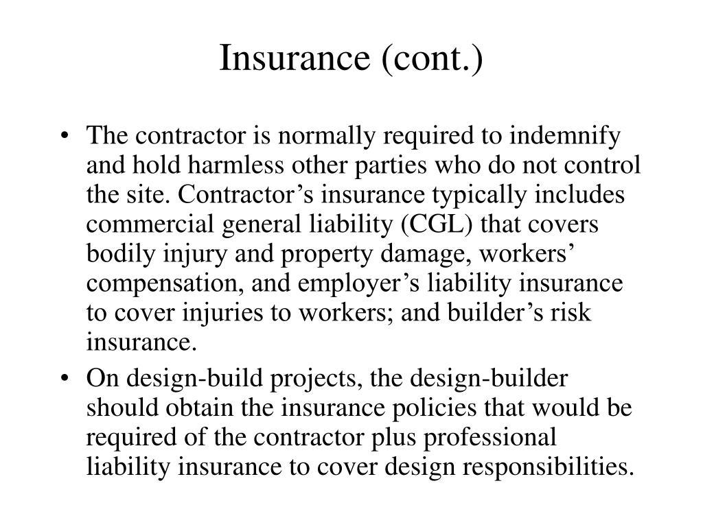 Insurance (cont.)