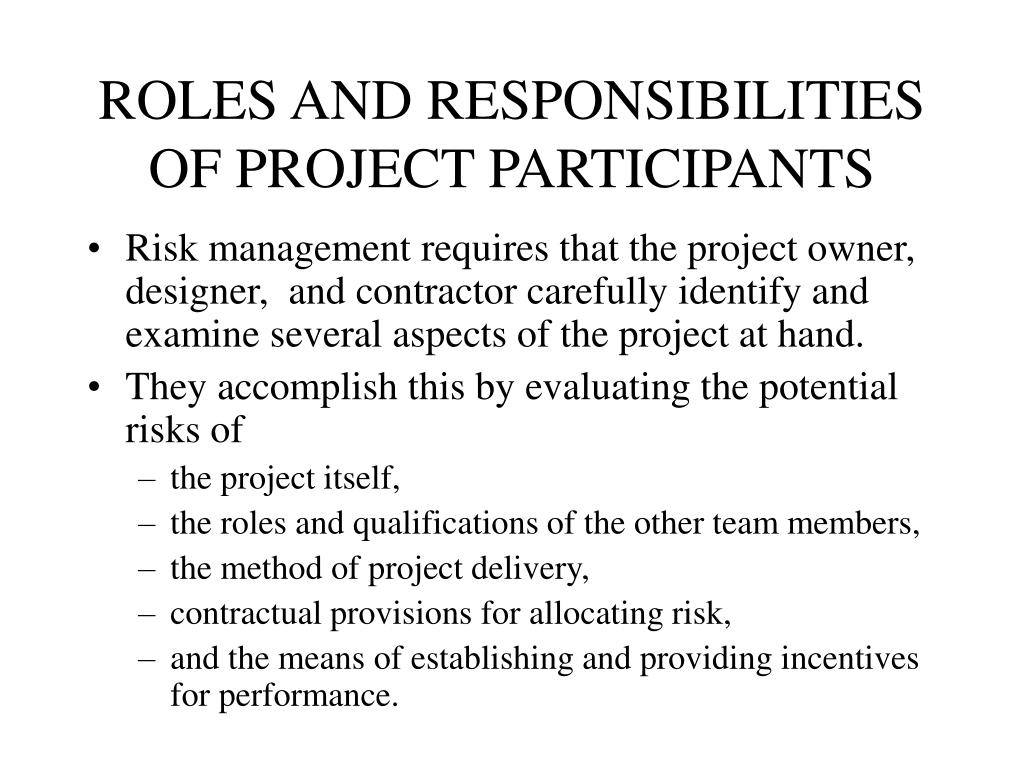 ROLES AND RESPONSIBILITIES OF PROJECT PARTICIPANTS