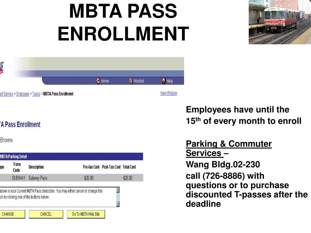 MBTA PASS ENROLLMENT