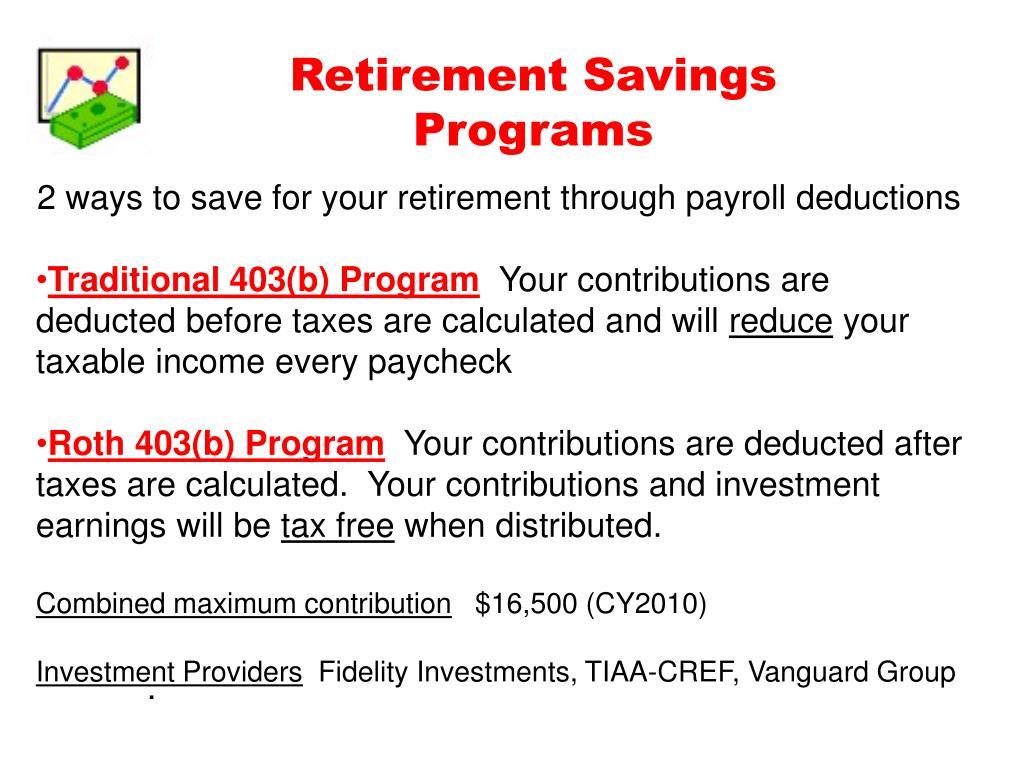 Retirement Savings Programs