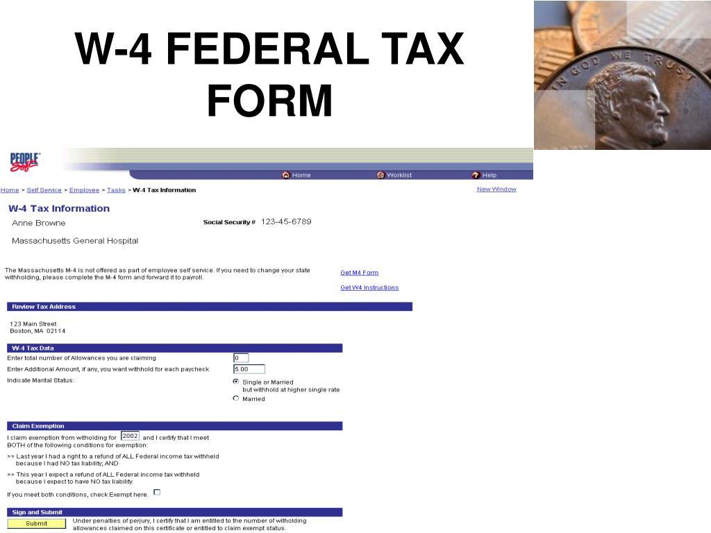 W-4 FEDERAL TAX FORM