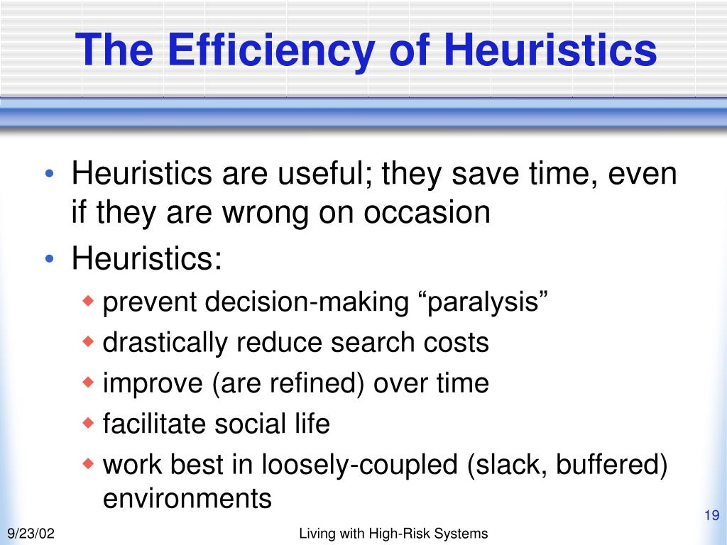The Efficiency of Heuristics