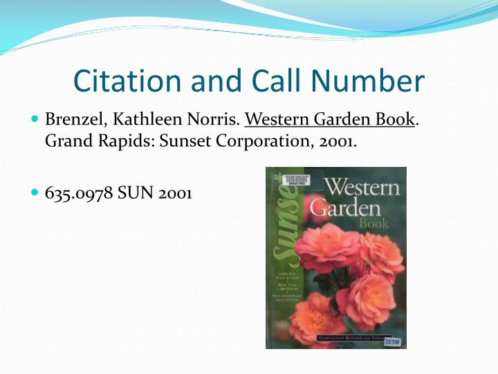 Citation and call number