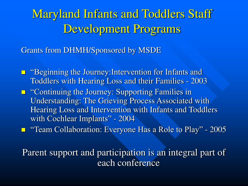 Maryland Infants and Toddlers Staff Development Programs